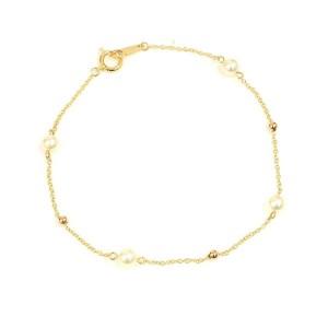 Vendome Aoyama 18K Rose Gold Pearl Chain Bracelet CHAT-615