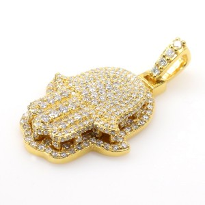 14K Yellow Gold 2.1ct Diamond Hamsa Pendant