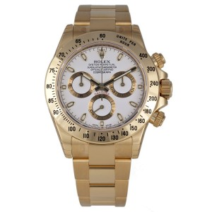 Rolex Cosmograph Daytona 116528 18K Yellow Gold White Index Dial 40mm Mens Watch