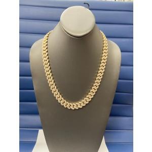14K Yellow Gold Men's 20.37ct Diamond Link Necklace