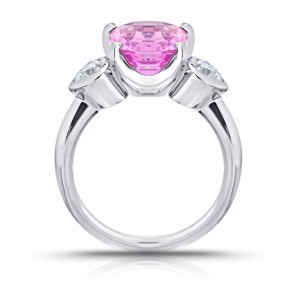 Platinum 4.11ct. Pink Spinel 0.47ctw. Diamond Ring Size 7