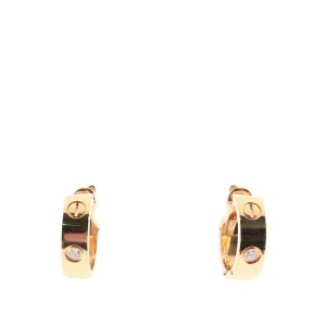 Cartier Love Hoop Earrings 18K Rose Gold with Diamonds