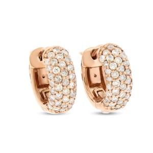 """14k Rose Gold 0.90 Ct. Natural Diamond Huggie Hoop 1/2"""" Earrings"""
