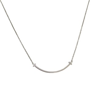a45a9832b 18K White Gold T-Smile Mini Pendant Necklace   Tiffany & Co.   Buy at  TrueFacet
