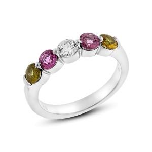 1.20 Ct. Genuine Pink and Yellow Sapphires & Diamond Anniversary Band 14k White Gold