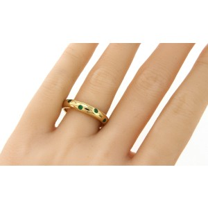 Tiffany & Co. Etoile 18K Yellow Gold Emerald Ring Size 8