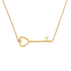 Tiffany & Co. 18K Yellow Gold Heart Key Pendant Necklace
