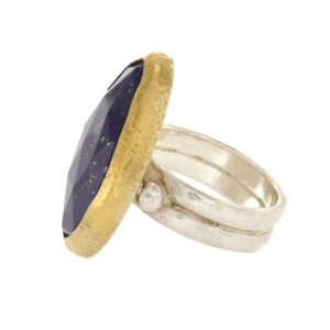 Gurhan 925 Sterling Silver Yellow Gold Lapis Ring Size 6.5