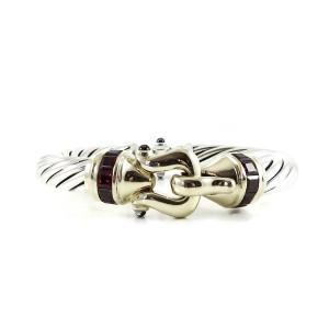 David Yurman Sterling Silver 14K Yellow Gold 10mm Rhodolite Garnet Buckle Princess Bracelet