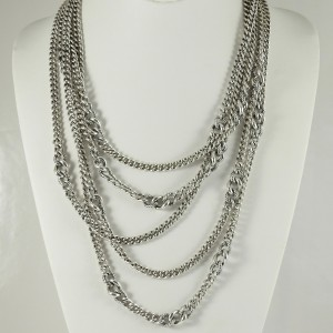 """David Yurman Sterling Silver 19.25"""" - 21.25"""" 5-Row Belmont Curb Chain Necklace"""