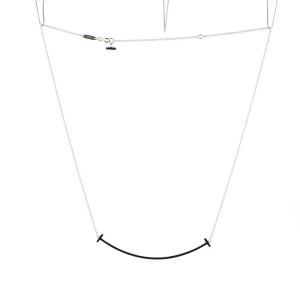 Tiffany & Co. T Smile Pendant Necklace 18K White Gold XL