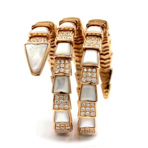 Bulgari Serpenti One-coil 18k With Pave Diamonds And Mother Of Pearl Bracelet