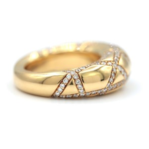 Chaumet 18 Karat Yellow Gold Ring With Pave Diamonds Ring Size 6.5