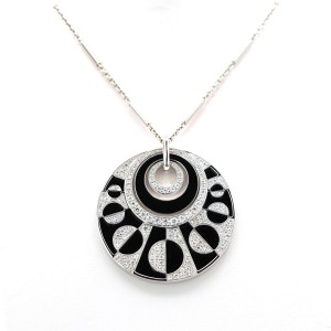Bulgari Intrasio 18 Karat Gold With Diamond And Onyx Large Pendant Necklace