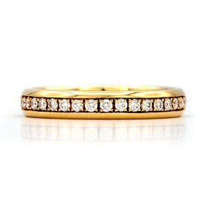 Chopard Eternity Wedding Band 18 Karat Yellow Gold Ring With Diamonds Ring Size 6.75