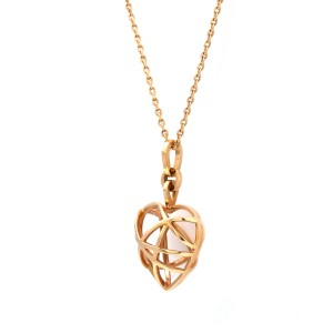 Chopard 18 Karat Rose Gold Guli Heart Pendant With Chain Necklace