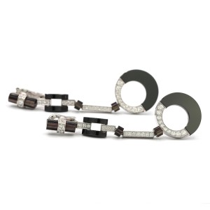 Cartier Black Silver White Gold Onyx Diamond Earrings