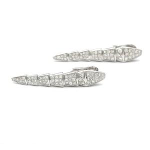 Bulgari Serpenti Earrings In 18 Karat White Gold With Diamonds