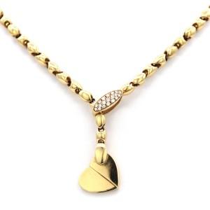 Piaget 18 Karat Yellow Gold Diamond Deformation Heart Motif Necklace