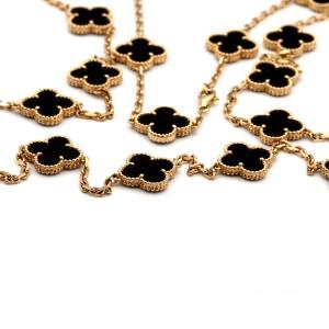 Van Cleef & Arpels Black Vintage Alhambra Long Motifs Yellow Gold Onyx Necklace
