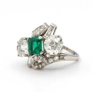 Green Emerald And Diamonds Platinum Ring Size 6