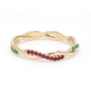 18K Yellow Gold with 0.08ct. Ruby and 0.04ct. Emerald Twisted Band Ring Size 6.5