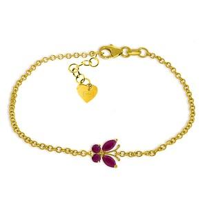 0.6 CTW 14K Solid Gold Butterfly Bracelet Ruby
