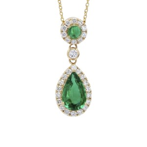 18K Yellow Gold with 0.48ct. Diamond and 1.65ct. Emerald Pendant Necklace