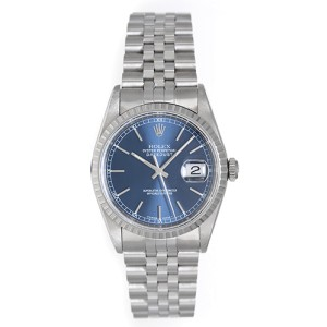 Rolex Datejust 16220 Stainless Steel Blue Dial 36mm Mens Watch