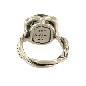 David Yurman Continuance Sterling Silver with Prasiolite Ring Size 7.5