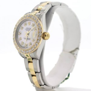 Rolex Datejust Ladies 2-Tone 18K Yellow Gold/Stainless Steel 26MM Watch w/MOP Diamond Dial & Bezel