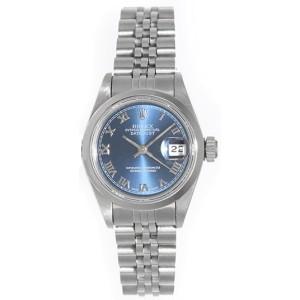 Rolex Datejust 69160 Stainless Steel Dark Blue Dial 26mm Womens Watch