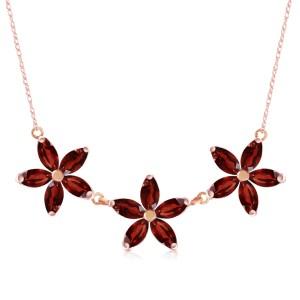 4.2 CTW 14K Solid Rose Gold Necklace Natural Garnet