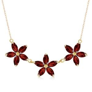 4.2 CTW 14K Solid Gold Necklace Natural Garnet