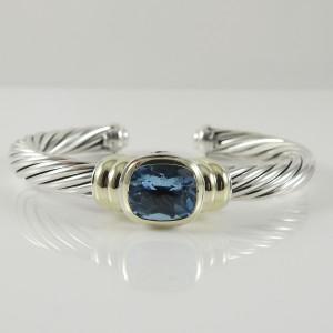 David Yurman Sterling Silver 14K Yellow Gold 7mm Blue Topaz Noblesse Bracelet