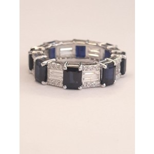 18k White Gold Sapphire and Diamond Baguette Ring