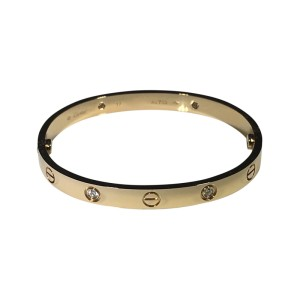 Cartier Love Rose Gold with 4 Diamond Bracelet Size 17