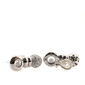 Chopard Happy Diamonds Round Ball Drop Earrings 18K White Gold and Diamonds
