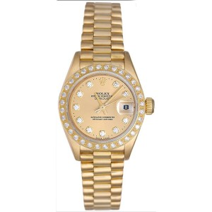 Rolex President 69178 18K Yellow Gold Diamond 26mm Womens Watch
