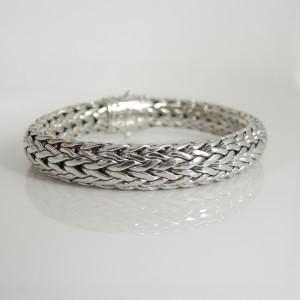 John Hardy Sterling Silver 0.62 Ct Diamond Classic Chain Bracelet