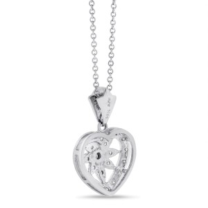 14K White Gold 0.40ct. Diamond Leaf In Heart Pendant Necklace