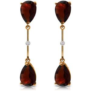 14K Solid Rose Gold Diamonds & Garnets Dangling Earrings
