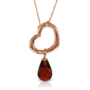 14K Solid Rose Gold Heart Necklace with Dangling Natural Garnet
