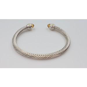 David Yurman Cable Sterling Silver 14K Yellow Gold Citrine Bracelet