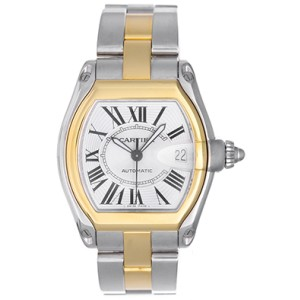 Cartier Roadster W62031Y4 Stainless Steel & 18K Yellow Gold Silver Dial Automatic 38mm Mens Watch