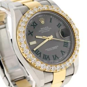 Rolex Datejust II 2-Tone 18K Yellow Gold & Stainless Steel 41mm Grey Slate Dial Mens Watch w/Custom Diamond Bezel 116333