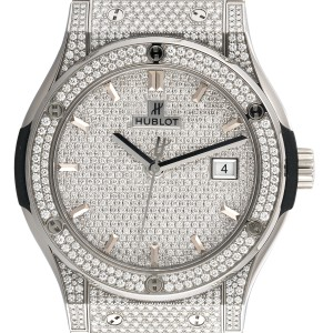 Hublot Classic Fusion Titanium Diamond Pave Dial 42mm Mens Watch