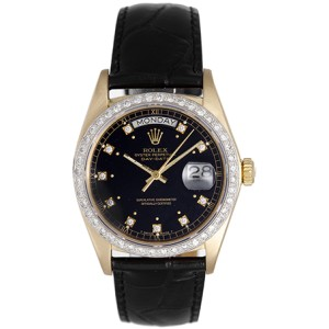Rolex President Day-Date 18038 18K Yellow Gold & Leather Black Dial Automatic 36mm Mens Watch
