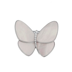 Van Cleef & Arpels 18K White Gold and Mother of Pearl Butterfly Brooch