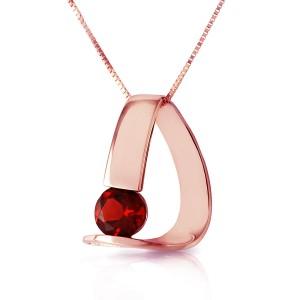 14K Solid Rose Gold Modern Necklace with Natural Garnet